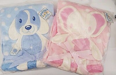 PERSONALISED DELUXE SOFT & CUDDLY BABY BLANKET WITH 3d dog or elephant design