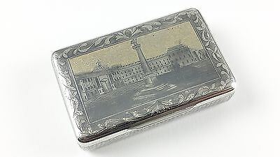 Antique Russian Solid Silver Gilt & Niello Snuff Box - Moscow 1843
