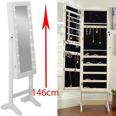 Mirror With Led Light Jewellery Cabinet Stand Storage Floor Bedroom Box Lights