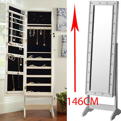 Mirror With Led Lights Jewellery Cabinet Stand Storage Floor Light Box Bedroom