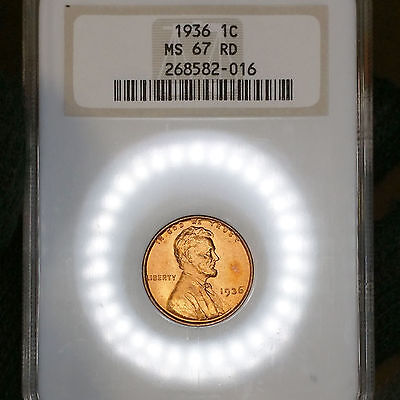 1936-P MS67 RD Lincoln Wheat Cent 1c Red Penny graded by NGC, Registry Quality!
