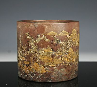 Large Chinese Yixing Pottery Brush Pot With Landscape And Writing