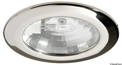 Chromed Brass Watertight Built-In Halogen G4 20W 12V Oval Spotlight Osculati