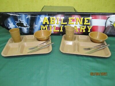 US Military Mess Hall Tray Divided Food Trays Camping Cafeteria Set 12 Pieces