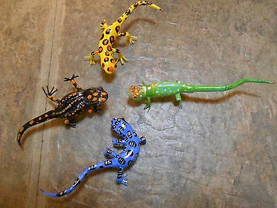 Lizards-Gecko- Anole-Salamander Fridge Magnets Set of 4 Colorful Lifelike Lizard