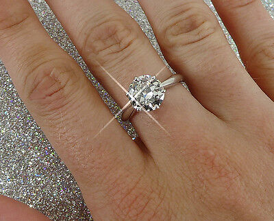 Magnificent ladies 18ct white gold diamond solitaire ring 2.27ct - PROVEN SELLER