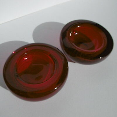 SUPERB Pair(x2)Vintage WHITEFRIARS Controlled Bubble BOWLS 9099 RUBY By G.Baxter