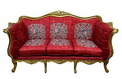 Carved Gilt Gold Louis XV/ French Style Sofa Couch Berry Color