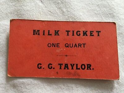 Vintage GC TAYLOR Milk Ticket One Quart Trade Card