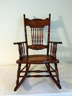 Antique Vtg American Oak Pressed Back Rocking Chair Cane Seat - Pickup Or Ship