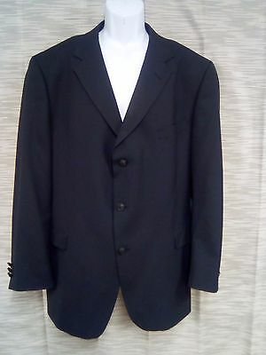 (48R) Tommy Hilfiger Men's BLACK WOOL MENS Blazer Sport Coat Jacket #