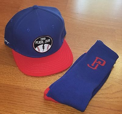 Pearl Jam Hat Socks Set Wrigley Field Chicago Snapback Cap Bundle Blue Red New