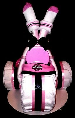 Harley Davidson Diaper Cake Pink -Tricycle baby Girl shower decoration or gift