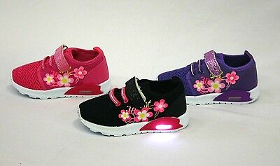 Light Up  Girls Baby Toddler  strap Lace Led Sneaker Tennis Shoe size 4 - 9