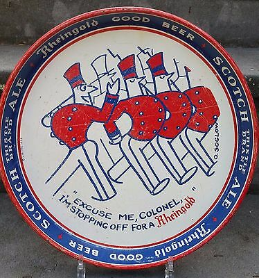 """1933 Rheingold """"Excuse Me Colonel"""" Beer Tray Liebmann Breweries Brooklyn NY"""