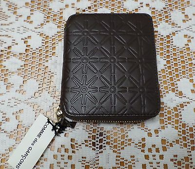 Comme Des Garcons NEW w/TAGS Classic Brown Leather Star Embossed Wallet! SALE!