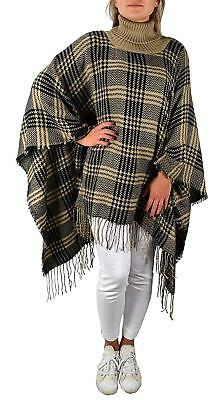 Peach Couture Turtle neck Checkered Winter Poncho Sweater Pullovers with Fringes