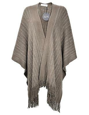 ZLYC Women Lightweight Soft Basic Chunky Knit Open Front Blanket Wrap Fringe...