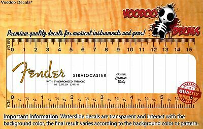Fender Stratocaster (Orange Logo) Headstock Waterslide Decals