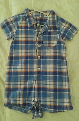 Carters Baby Boy Clothes 12 Months One Piece Short Sleeve Plaid Romper