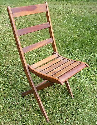 Vtg Wooden Antique Church Wood Slat Folding Chair Herkimer Specialties Corp NY