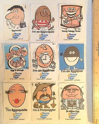 1970S Sunny Queen Eggs Promo Stickers Trading Cards Art By Weg Eggcellent-Nmint!