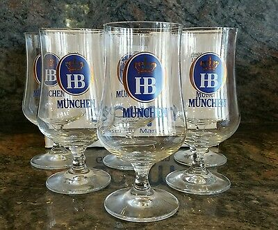 New in Box Set of 6 Hofbrauhaus Munchen Beer 0.4L Glasses