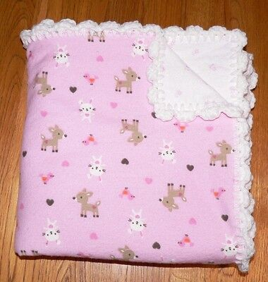 Baby Girl Flannel Receiving Blanket with Hand Crochet Edge