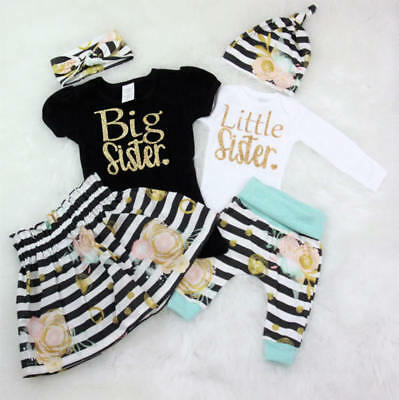 Newborn Baby Girls Outfit Clothes Sisters T-shirt Romper+Long Pants+Hat/Headband