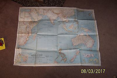 """1941 NATIONAL GEOGRAPHIC """"Indian Ocean"""" MAP printed by A. HOEN Baltimore, MD."""