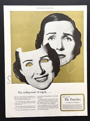 1952 Vintage Print Ad TRAVELERS INSURANCE Comedy Tragedy Mask
