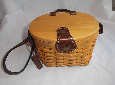 2000 Small Saddlebrook Longaberger Basket Purse,,Plastic Liner,Signature & Date
