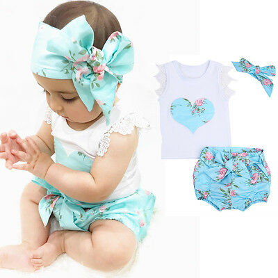 AU 3PCS Toddler Kids Baby Girl T-shirt Tops+Shorts Pants Outfit Clothes Headband