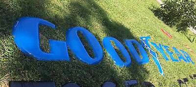 Original Complete Goodyear Large Letters Porcelain Sign with Blue Winged Foot