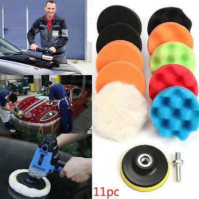 "11Pcs 3/4/5/6/7"" Buffing Sponge Polishing Pad Kit Set For Car Polisher Buffer"