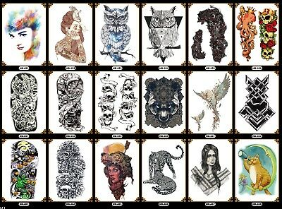 Lasting  3D  Waterproof full Upper Arm Temporary Tattoo stencil Sticker Body Art