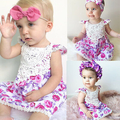 AU Stock Toddler Girl Floral Princess Dress Kids Summer Party Dresses 1-6Years