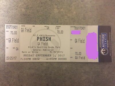 1 Friday Field Ticket - Phish at Dick's Sporting Goods Park 9/1/17 - Electronic