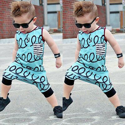 AU Stock Baby Kid Boy Summer Romper Jumpsuit Bodysuit Clothes Outfit Harem Pants