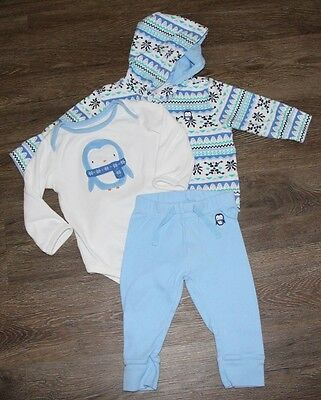 Gymboree Snowman Outfit Top Pants Jacket 3PC 6-12 Months Baby Boy