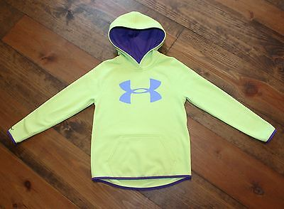 Under Armour Girl's Neon Yellow & Purple Hoodie Size Youth Small