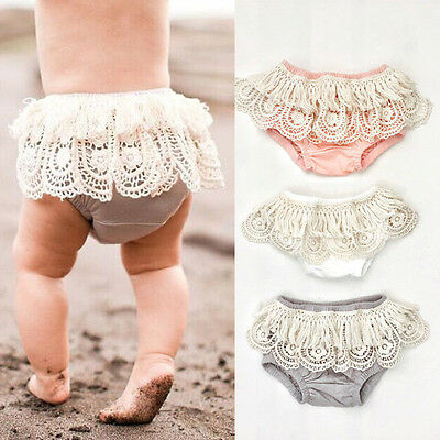 AU Stock Toddler Baby Girl Lace Floral Shorts Ruffle Pants Bloomers Diaper Nappy