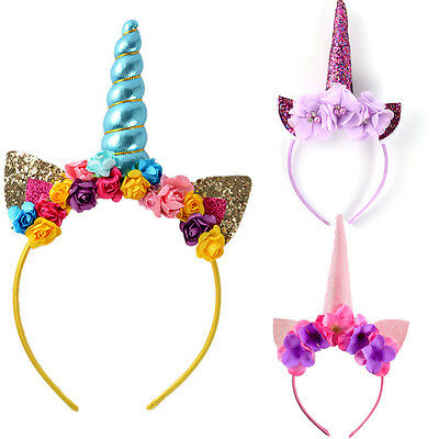 AUStock Unicorn Horn Floral Headband Fancy Dress Kid Party Birthday Magical Gift