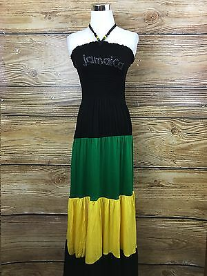 NEW Rasta Empress Smocked Tube Long Dress Jamaica Reggae Maxi Halter ONE SIZE