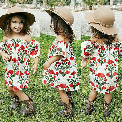 AUStock Baby Girl Kid Off-shoulder Floral Summer Dress Outfit Party Beach Dress