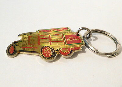 Vintage Coca Cola Coke - Delivery Truck Shaped Keychain Key Ring - Dated 1987