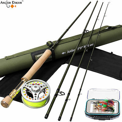 8WT Fly Fishing Combo Fast Action Fly Rod Aluminum Fly Reel Backing Leader Line