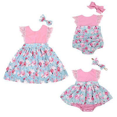 AU STOCK Baby Girl Kids Outfit Set Floral Princess Dress Lace Romper Skirt Party