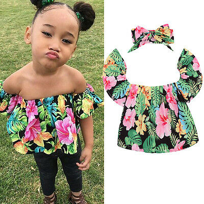 AU Stock Toddler Baby Girl Kids Off Shoulder Top T-shirt Romper+Headband Outfits