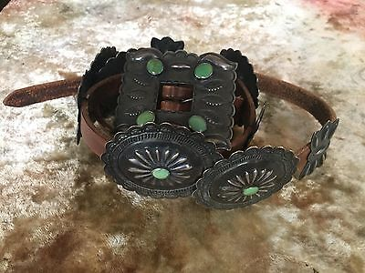 Hand Stamped Old Silver Turquoise Concho  Belt Original leather